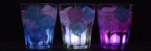 glasses, ice cubes, illuminated