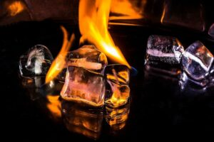 ice cubes, fire, flame